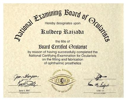 American Society Of Ocularist, Kuldeep Raizada, Ph D BCO