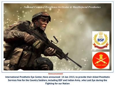 Custom Prosthetic Eye for Indian Soldiers Free of cost from International prosthetic Eye Center