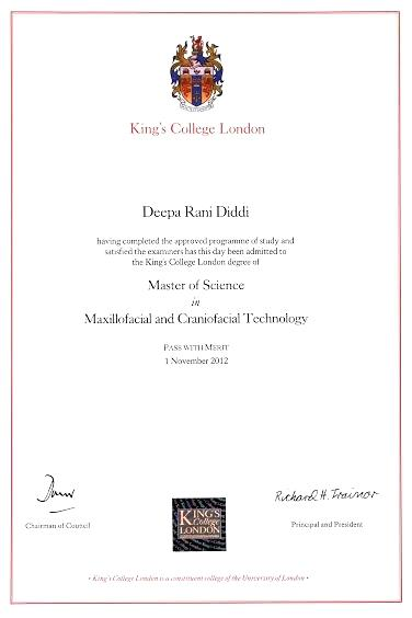 Master In Clinical Maxillofacial and Craniofacial technology, Kings College London